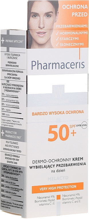 Crema de día con manteca de karité, SPF 50+ - Pharmaceris W Whitening Dermo-Protective Day Cream