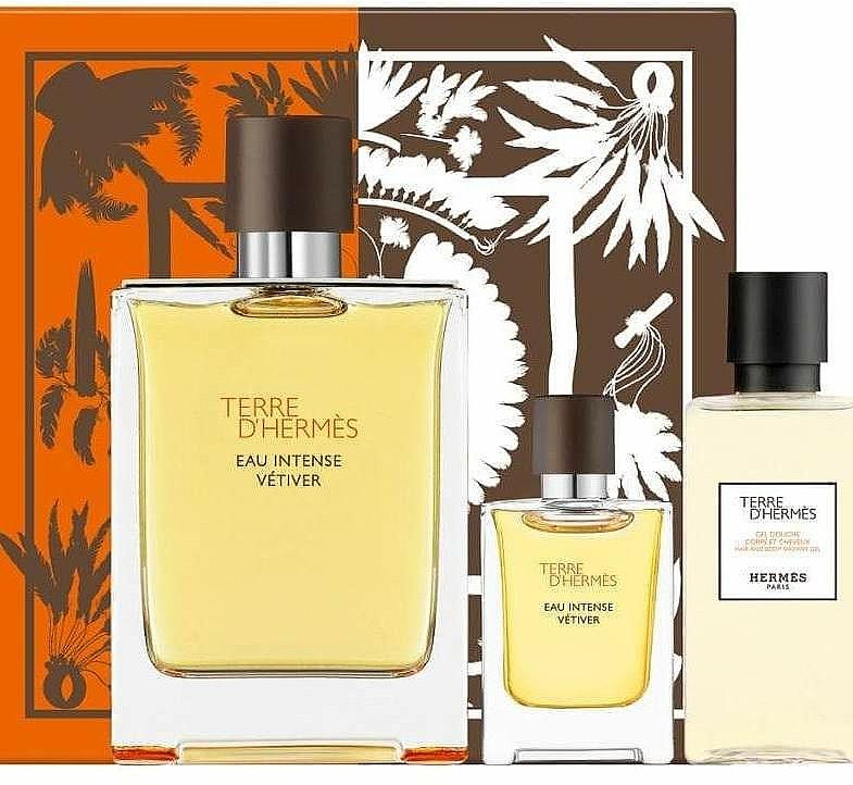 Hermes Terre d'Hermes Eau Intense Vetiver - Set (eau de parfum/100ml + gel de ducha/40ml + eau de parfum/mini/5ml)