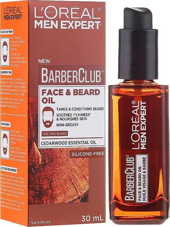 Aceite esencial de cedro para rostro y barba - L'Oreal Paris Men Expert Barber Club Long Beard + Skin Oil