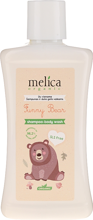 Champú gel de ducha para bebés con extracto de aloe vera y proteína de trigo - Melica Organic Funny Bear Shampoo-Body Wash