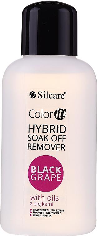 Quitaesmalte de uñas de gel híbrido con aceite de semilla de uva - Silcare Soak Off Remover Black Grape