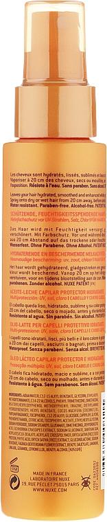 Leche-aceite protector solar para cabello y cuero cabelludo con aceite de coco, resistente al agua - Nuxe Sun Milky After Sun Hair Oil — imagen N2