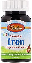 Perfumería y cosmética Complemento alimenticio hierro para niños, sabor fresa - Carlson Labs Kid's Chewable Iron