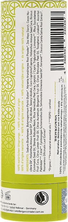Desodorante stick a base de bicarbonato de sodio con aroma cítrico - Ben & Anna Natural Soda Deodorant Paper Tube Persian Lime — imagen N2