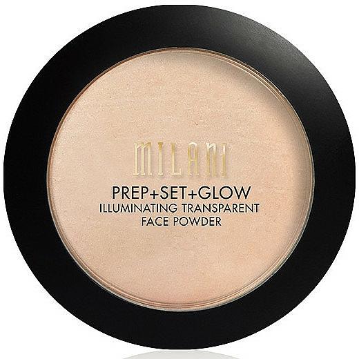 Prebase de maquillaje, polvo fijador & iluminador vegano 3 en 1 - Milani Prep + Set + Glow Illuminating Transparent Powder