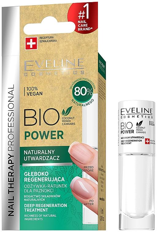 Endurecedor de uñas con aceites de coco, monoi y cáñamo - Eveline Cosmetics Nail Therapy Bio Power