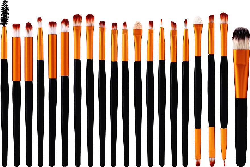 Set profesional de brochas y pinceles de maquillaje, 20uds., color negro con dorado - Lewer