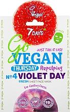 Perfumería y cosmética Mascarilla facial de tejido refrescante con extractos de arándano, ciruela e higo, vegana - 7 Days Go Vegan Thursday Violet Day