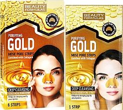 Perfumería y cosmética Tiras limpiadoras de poros con colágeno - Beauty Formulas Purifying Gold Nose Pore Strips