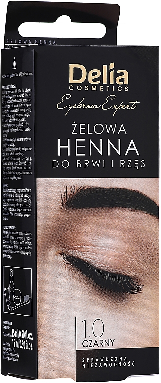 Tinte gel para cejas y pestañas, negro - Delia Eyebrow Tint Gel ProColor 1.0 Black