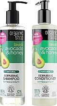 Perfumería y cosmética Set natural de lavado de cabello con aguacate y miel - Organic Shop (champú/280ml + acondicionador/280ml)