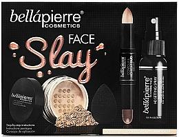 Perfumería y cosmética Set de maquillaje - Bellapierre Face Slay Kit Dark/Deep (stick contorno e iluminador/8.6+polvo/6.5g+spray/70ml+esponja blender/1ud.)