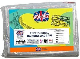 Perfumería y cosmética Capa de peluquería desechable, transparente, 50uds. - Ronney Professional Hairdressing Cape