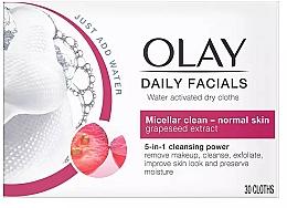 Perfumería y cosmética Toallitas micelares limpiadoras para rostro con extracto de semilla de uva - Olay Cleanse Daily Facials Eater Activated Dry Cloths