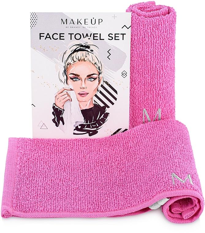 "Set toallas para rostro, rosa ""MakeTravel"" - Makeup Face Towel Set"