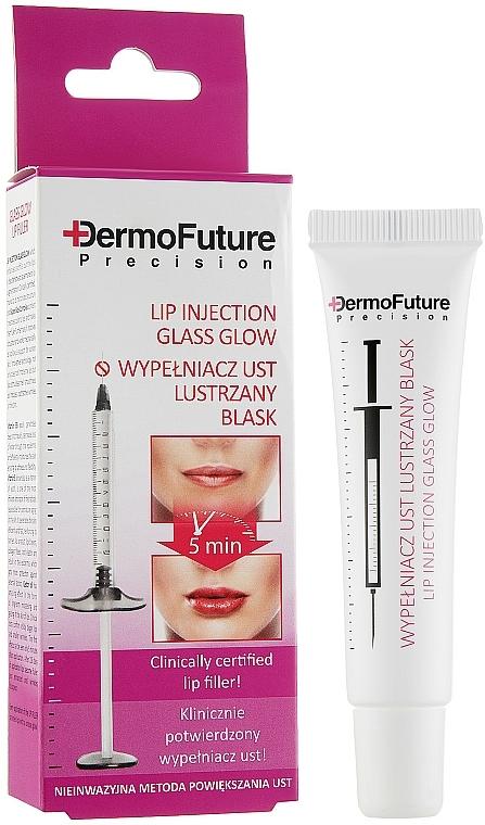 Voluminizador de labios con aceite de ricino, vitamina B5, E - DermoFuture Lip Injection Glass Glow