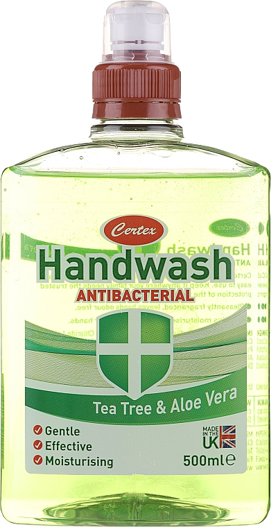 Jabón de manos líquido antibacteriano con árbol de té y aloe vera - Certex Antibacterial Tea Tree & Aloe Vera Handwash
