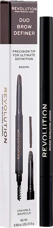 Lápiz de cejas con cepillo - Makeup Revolution Duo Brow Pencil