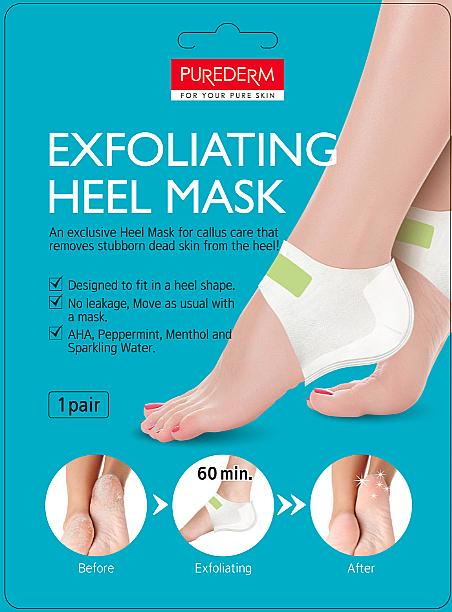 Mascarilla almohadilla exfoliante para talones agrietados con ácidos AHA y mentol - Purederm Exfolaiting Heel Mask