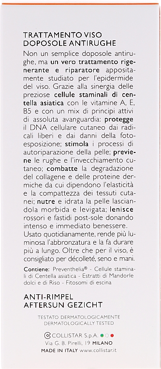 Crema aftersun antiarrrugas con extracto de almendra dulce - Collistar Antiwrinkle After-Sun Face Treatment — imagen N3