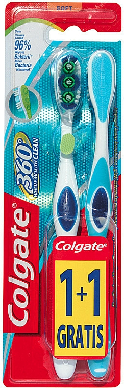 Cepillos dentales blandos, blanco-azul - Colgate 360 Whole Mouth Clean Soft — imagen N1