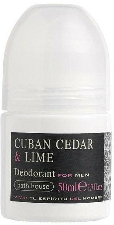 Bath House Cuban Cedar & Lime - Desodorante antitranspirante roll-on con cedro cubano y aceite de lima