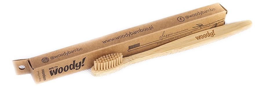 Cepillo dental de bambú de dureza media - WoodyBamboo Bamboo Toothbrush Classic