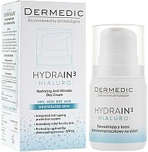 Perfumería y cosmética Crema facial antiedad con ácido hialurónico y aceite de oliva - Dermedic Hydrain 3 Hialuro Anti Winkle Day Cream