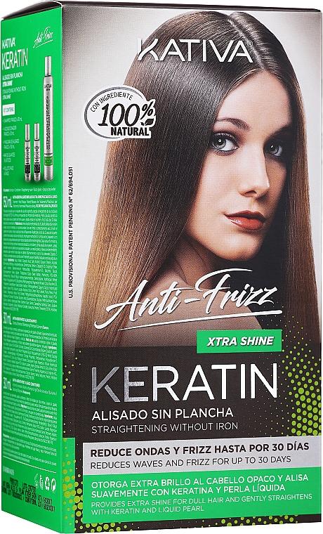 Set para cabello - Kativa Keratin Anti-Frizz Xtra Shine (mascarilla/150ml + champú/30ml + acondicionador/30ml)