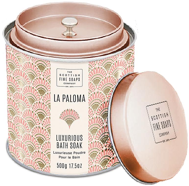 Scottish Fine Soaps La Paloma - Polvo de baño perfumado nutritivo y relajante con aroma afrutado y floral