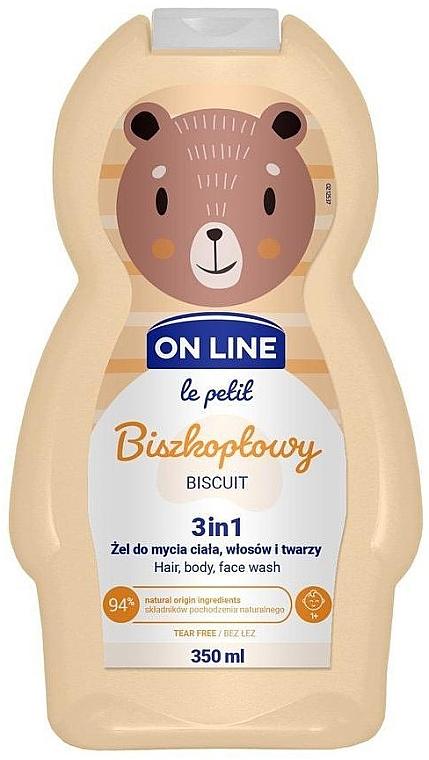 Gel de ducha infantil para cuerpo, cabello y rostro con aroma a galletas - On Line Le Petit Biscuit 3 In 1 Hair Body Face Wash