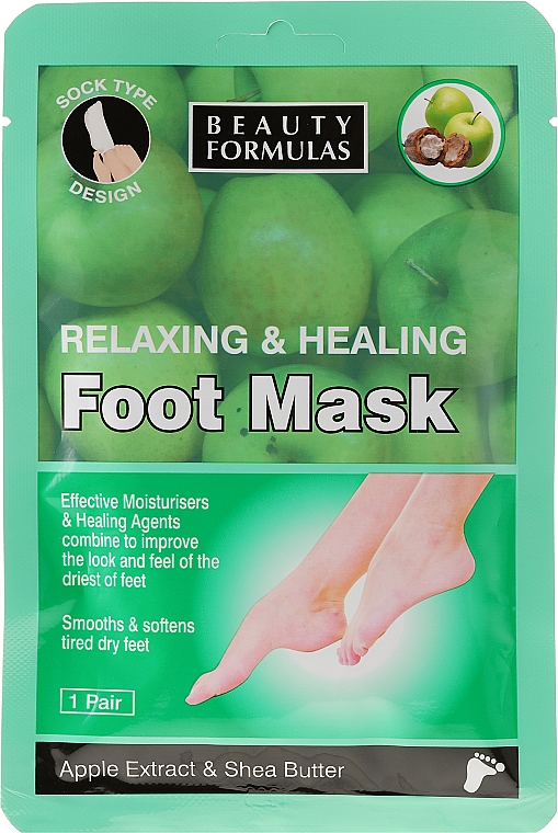 Mascarilla para pies con extracto de manzana y manteca de karité - Beauty Formulas Relaxing And Healing Foot Mask