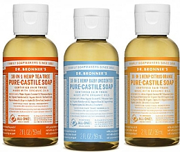 Perfumería y cosmética Set jabones líquidos orgánicos de coco, oliva y jojoba - Dr. Bronner's 18-in-1 Pure Castile Soap (3uds.x60ml)