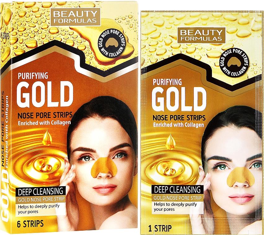 Tiras limpiadoras de poros con colágeno - Beauty Formulas Purifying Gold Nose Pore Strips