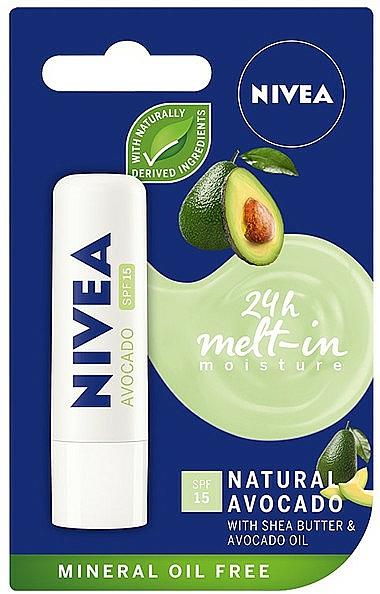 Bálsamo labial con aceite de aguacate - Nivea 24H Melt-in Natural Avocado Lip Balm SPF15