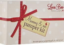 Perfumería y cosmética Love Boo Mummy & Me Pamper Kit - Set de cuidado para mamás y bebés (lóción corporal/50ml + gel de ducha y champú, 2en1/50ml + manteca corporal/15ml + aceite corporal/100ml + jabón líquido/250ml)