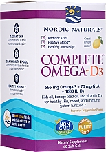 Perfumería y cosmética Complemento alimenticio de Omega-3-6-9 con Vitamina D3, en cápsulas blandas, sabor a limón - Nordic Naturals Complete Omega- D3 Lemon