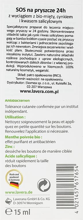Gel antiacné con menta orgánica, zinc y ácido salicílico - Lavera SOS Spot Gel — imagen N2