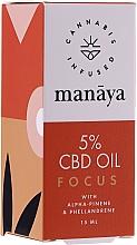Perfumería y cosmética Aceite de cáñamo con α-pineno y felandreno para atención y concentración - Manaya 5 % CBD Oil Focus
