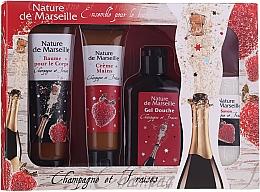 Perfumería y cosmética Set corporal, Fresa y champán - Nature De Marseille (gel de ducha/150ml + crema de manos/60ml + bálsamo corporal/100ml + jabón/95g)