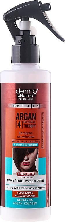 Spray para cabello con queratina, colágeno y aceite de argán - Dermo Pharma Argan Professional 4 Therapy Moisturizing & Smoothing Keratin Hair Repair