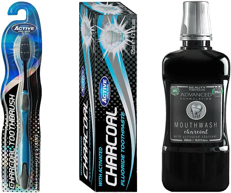 Set (enjuague bucal/500ml + cepillo dental/1ud + pasta dental/125g) - Beauty Formulas Charcoal