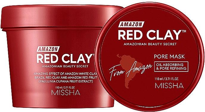 Mascarilla facial con arcilla roja y extracto de guaraná - Missha Amazon Red Clay Pore Mask