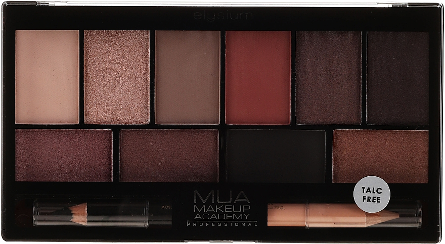 Paleta de sombras de ojos (10 colores) + lápiz de ojos bilateral - MUA Elysium Eyeshadow Palette