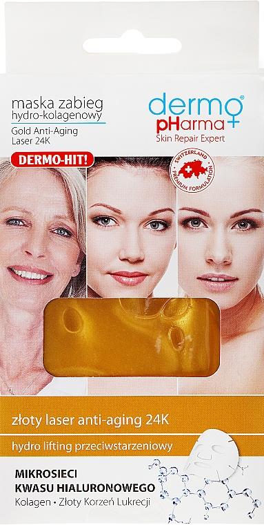 Mascarilla facial de tejido hipoalergénica con hidrocolágeno - Dermo Pharma Gold Anti-Aging Laser 24K — imagen N1
