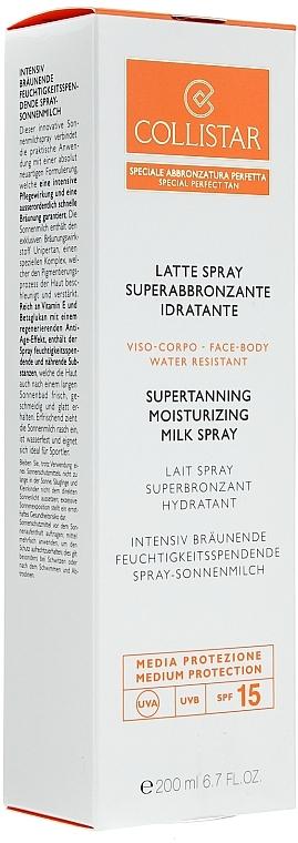 Leche solar bronceadora para rostro y cuerpo resistente al agua SPF15 - Collistar Supertanning Moisturing Milk Spray SPF 15 — imagen N1