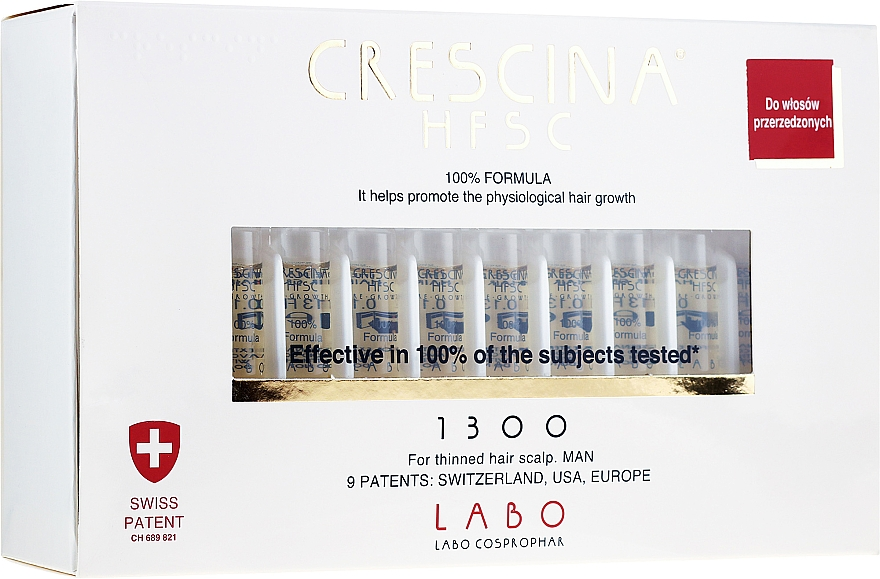 Tratamiento en ampollas estimulador del crecimiento de cabello para hombres 1300 - Crescina HFSC Re-Growth 1300