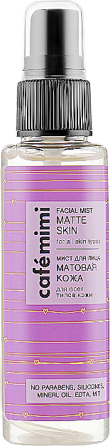Bruma facial con extracto de té verde, efecto mate - Cafe Mimi Facial Mist Matte Skin