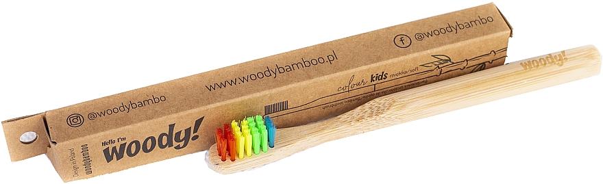 Cepillo dental infantil de bambú, dureza suave, multicolor - WoodyBamboo Bamboo Toothbrush Kids Soft/Medium Colour