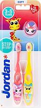 Perfumería y cosmética Cepillos dentales para niños de 3-5 años, rosa + amarillo, con jirafa - Jordan Step By Step Soft Clean